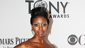 Condola Rashad (a featured actress nominee for Stick Fly) bucks the evening's color trend with this graphic black and silver gown from Pamella Roland (with matching manicure!) and Fred Leighton jewels.
