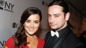 Tony presenter Cote De Pablo flashes a smile on opening night with Rock of Ages alum Constantine Maroulis.