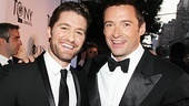 Glee star Matthew Morrison and stage and screen favorite Hugh Jackman pal around at the Tony Awards.