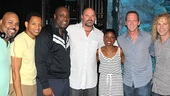 Memphis' leading lady Montego Glover sure doesn't mind being surrounded by all these handsome guys. From left: James Monroe Iglehart, Derrick Baskin, J. Bernard Calloway, David Wells, Montego Glover, David Cone and David Bryan.