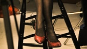 Even if the shoot is in black and white, she wouldn't be Judy Garland without some shiny, red shoes.