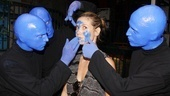 Blue is in! The Blue Men put the finishing touches on Heidi Klum's new look.