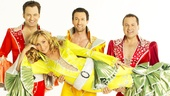 Graham Rowat as Harry Bright, Judy McLane as Donna Sheridan, Aaron Lazar as Sam Carmichael and Daniel Cooney as Bill Austin in Mamma Mia!