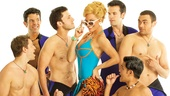 Felicia Finley as Tanya and the cast of Mamma Mia!