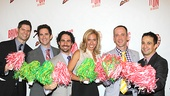 Composer Tom Kitt, director/choreographer Andy Blankenbuehler, music supervisor Alex Lacamoire, lyricist Amanda Green, librettist Jeff Whitty and composer/lyricist Lin-Manuel Miranda show off their team spirit.