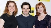 Rob McClure strikes a pose with the ladies in Chaplin's life, Christiane Noll (Hannah) and Erin Mackey (Oona).