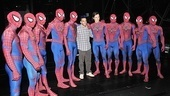 Reeve Carney (c.) and the Spider-Man gang rally around 2012 bronze and 2011 gold medal-winning gymnast Danell Leyva.