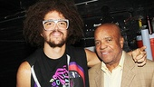 Motown legend Berry Gordy and his son Redfoo (aka Stefan Kendal Gordy) get in the high-flying spirit backstage at Bring It On. Could a song about cheerleading be somewhere in LMFAO's future?