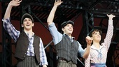 Newsies stars Ben Fankhauser, Corey Cott and Kara Lindsay wave one final farewell before leaving the stage at the Nederlander Theatre.