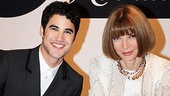 Darren Criss flashes a smile alongside Vogue bigwig Anna Wintourin a rare appearance without sunglasses! Criss appears in the magazines tentpole September issue.