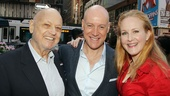 Annie writer Charles Strouse schmoozes with his new Warbucks and Hannigan, Anthony Warlow and Katie Finneran.
