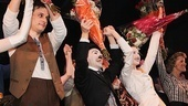 Chaplin stars Wayne Alan Wilcox, Rob McClure, Erin Mackey and Jenn Colella bask in the opening night applause.