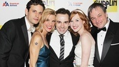 After the show, Chaplin stars Wayne Alan Wilcox (Sydney), Jenn Colella (Hedda Hopper), Erin Mackey (Oona) and Jim Borstelmann (Alf) rally around Rob McClure, who plays the Little Tramp himself.