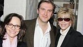 Sally Field and Jane Fonda flank Broadway hunk Dan Stevens, who makes his debut as Morris Townsend in The Heiress.