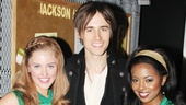 Peter Parker is a hit with the cheerleaders! Spider-Mans Reeve Carney says hello to Bring It On stars Taylor Louderman and Adrienne Warren.