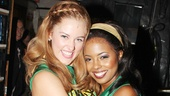 Stage rivals Taylor Louderman and Adrienne Warren hug it out at the St. James Theatre.