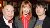 Jack O'Brien grabs a quick photo op with cast members Judy Greer and Josh Hamilton.