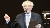 "Prolific lyricist Sheldon Harnick sings the theater standard ""She Loves Me,"" changing the lyrics to honor Cook."