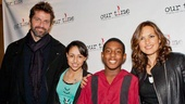 Celebrity guests Peter Hermann and wife Mariska Hargitay pose with young members of Our Time.
