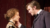 Jessica Chastain as Catherine Sloper and Dan Stevens as Morris Townsend in The Heiress.
