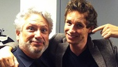 Tony winners Harvey Fierstein (Herr Schultz) and Eddie Redmayne (Cliff) share a lighthearted moment backstage.