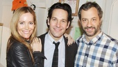 Grace star Paul Rudd is congratulated by his Knocked Up and This Is 40 co-star Leslie Mann and writer/director Judd Apatow.