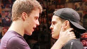 "Jason Hite and Taylor Trensch share a tender moment in the Bare song ""Best Kept Secret."""