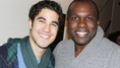 Darren Criss congratulates Tony nominee Joshua Henry, who leads Cotton Club as the evenings emcee.