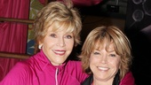 Jane Fonda embraces producer Pat Mitchell.