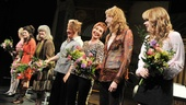 Steel Magnolias stars Sarah Stiles, Judith Ivey, Margo Martindale, Annie Potts, Jan Maxwell and Celia Keenan-Bolger take a bow after the benefit reading at the Lucille Lortel Theatre.