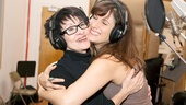 Chita Rivera and Stephanie J. Block share a happy embrace during a recording break.
