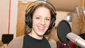 The always adorable Jessie Mueller flashes a smile in front of the mic.