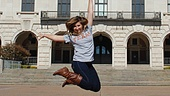 Sara Robillard has liftoff at the University of Texas at Austin campus tower.