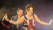 Viva Forever! star Sally Ann Triplett dons a Union Jack dress for the curtain call.