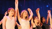 The talented cast of Pippin basks in the opening night applause.