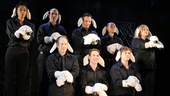 The company of Silence! The Musical performs the shows opening number Silence. Back row from left:  Ronica V. Reddick, Howard Kaye, Chuck Ragsdale, Topher Nuccio and Kimberly Stern. Front row from left: Jeffrey Kuhn, Stephen Hanna and David Ayers.
