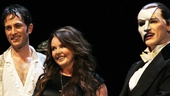 Sarah Brightman shares a laugh with current stars Kyle Barisich (Raoul) and Hugh Panaro (the Phantom).