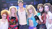 Rock of Ages players Josephine Rose Roberts, Kate Rockwell, Tessa Alves, Neka Zang and Cassie Silva rally around the Yankees star.