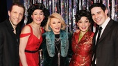 Joan Rivers kicks it backstage with Forbidden Broadway: Alive & Kicking cast members Scott Richard Foster, Natalie Charle Ellis, Jenny Lee Stern and Marcus Stevens.