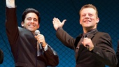 Drew Gehling as Bob Gaudio, John Lloyd Young as Frankie Valli, Jeremy Kushnier as Tommy DeVito and Matt Bogart as Nick Massi in Jersey Boys.