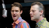Matt Bogart as Nick Massi, John Lloyd Young as Frankie Valli, Drew Gehling as Bob Gaudio and Jeremy Kushnier as Tommy DeVito in Jersey Boys.