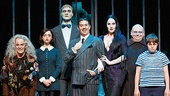 Amanda Bruton as Grandma, Jennifer Fogarty as Wednesday, Dan Olson as Lurch, Jesse Sharp as Gomez, KeLeen Snowgren as Morticia, Shaun Rice as Uncle Fester and Sam Primack as Pugsley in the national tour of The Addams Family.