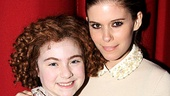 Screen sweetheart Kate Mara congratulates Annie star Lilla Crawford.