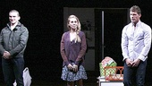 The audience cheers as Really Really stars Evan Jonigkeit, Zosia Mamet and Matt Lauria come together for their opening night bow.