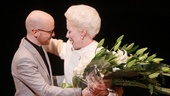 Ann's director Benjamin Endsley Klein presents his leading lady, Holland Taylor, with a gorgeous bouquet of flowers.