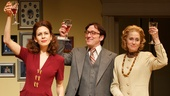 Jessica Hecht as Julie, Jeremy Shamos as Jeff and Judith Light as Faye in The Assembled Parties.