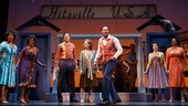 Brandon Victor Dixon as Berry Gordy and the cast of Motown: The Musical.
