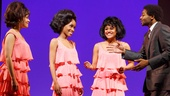 Sydney Morton as Florence Ballard, Valisia LeKae as Diana Ross and Ariana DeBose as Mary Wilson of The Supremes with Brandon Victor Dixon as Berry Gordy in Motown: The Musical.