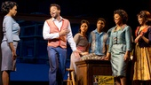 Marva Hicks as Esther Gordy, Brandon Victor Dixon as Berry Gordy and the cast of Motown: The Musical.