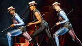 Anthony Wayne, Patina Miller as the Leading Player and Andrew Fitch in Pippin.